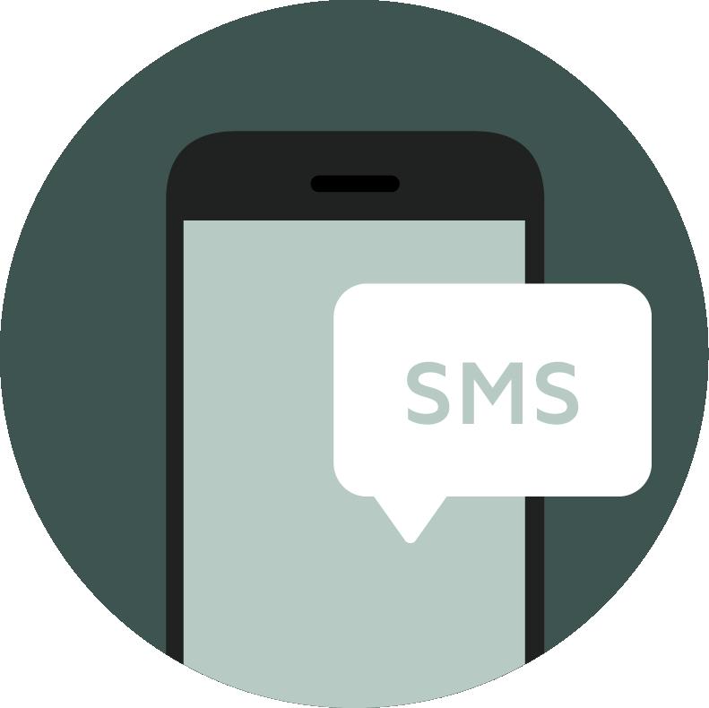 Ikon föreställande en mobil med pratbubbla innehållandes text SMS