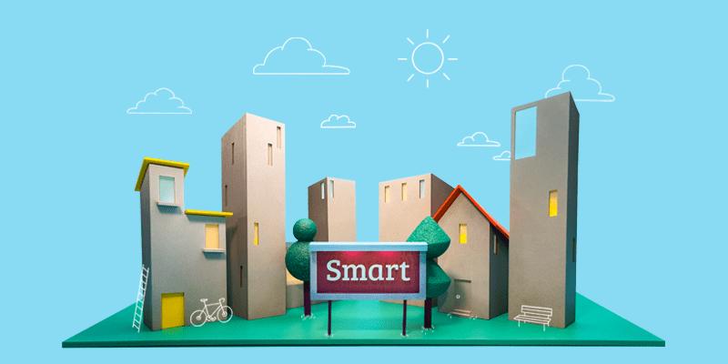 Illustration över en stad som kan betraktas som smart när den kopplat invånarsupport via TOPdesk - ett ärendehanteringssystem för kommuner