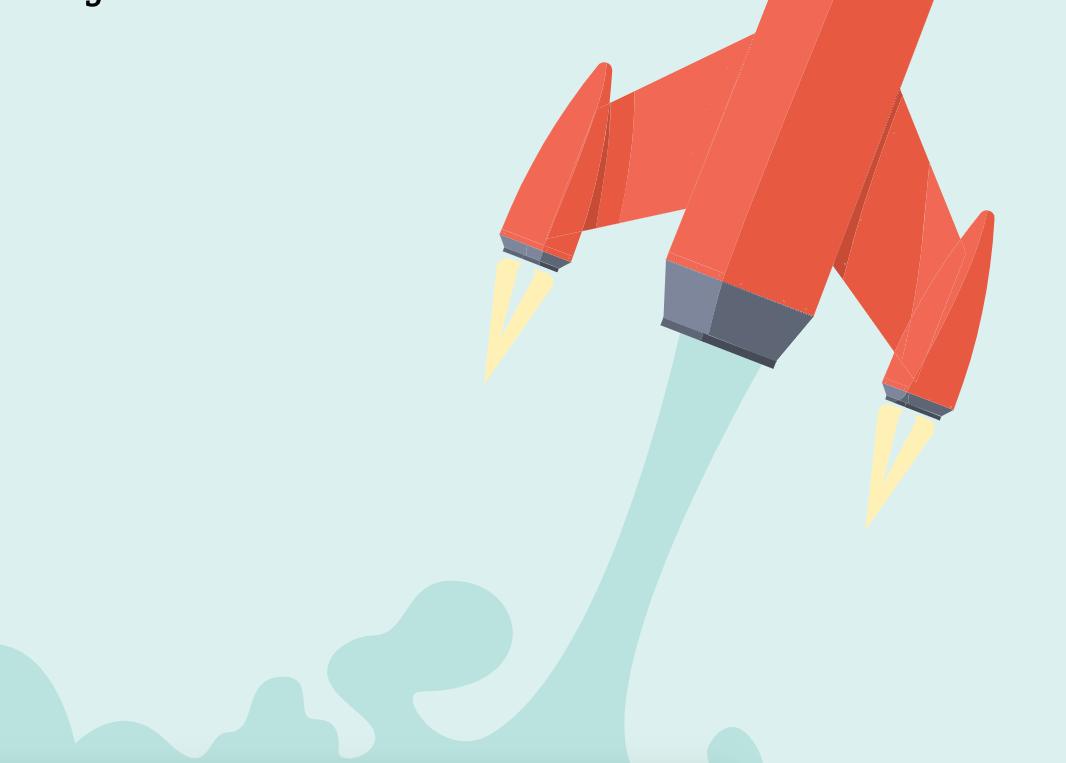 Illustration föreställande en en röd raket mot blå bakgrund. Illustrationen ska exemplifiera hur du snabbar på dina processer med hjälp av Knowledge management