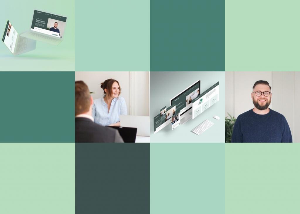 blogg header föreställande mosaik av gröna block och bilder på personal på it software