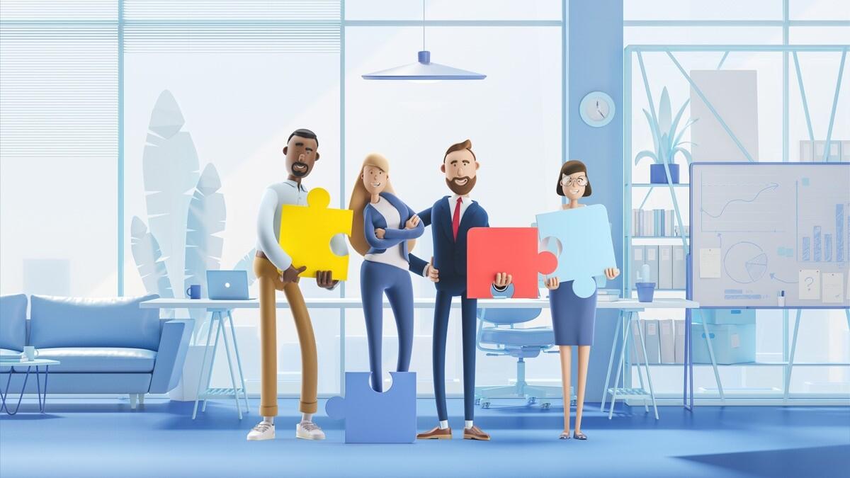 Grafisk illustration kontor   Inledande av partnerskap mellan Zervicepoint och IT Software