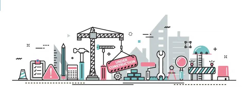 Dekorativ illustration föreställande en byggarbetsplats. Illustrationen går i färgerna för Hello Ebbot AB: rosa, ljust blått och grått.