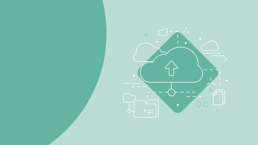 Illustration föreställande ett moln med mappar och dokument kopplat till molnet